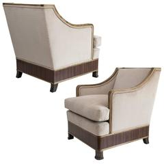 Elegant Pair of Swedish Art Deco Armchairs in Solid Elm and Rosewood Veneer