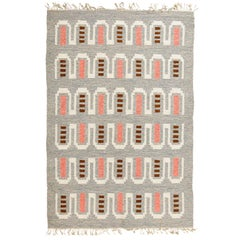 Scandinavian Modern Flat-Weave Rug  in Coral and Heather Gray