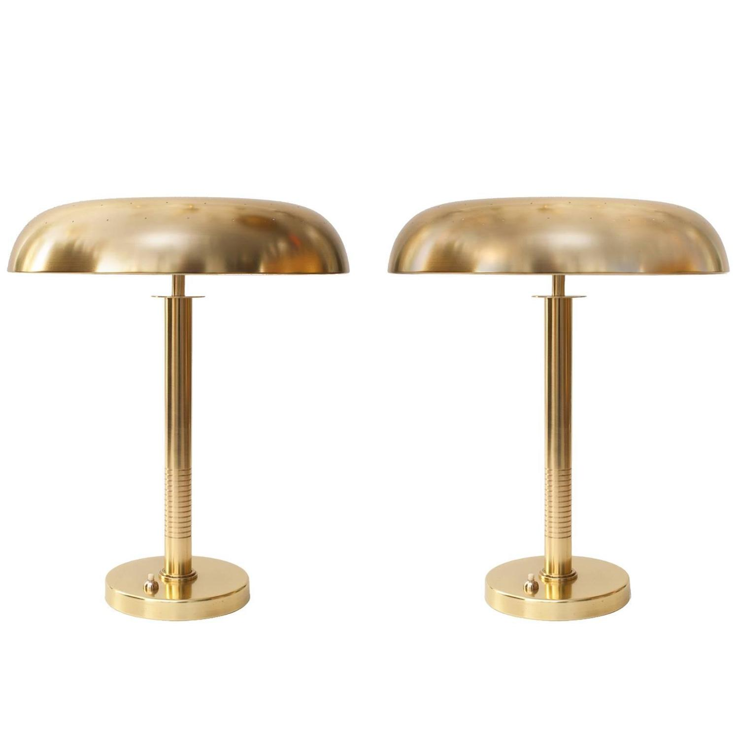 Pair of floor lamps produced by falkenbergs belysning ab in sweden at - Scandinavian Modern Brass Lamps By Bertil Brisborg