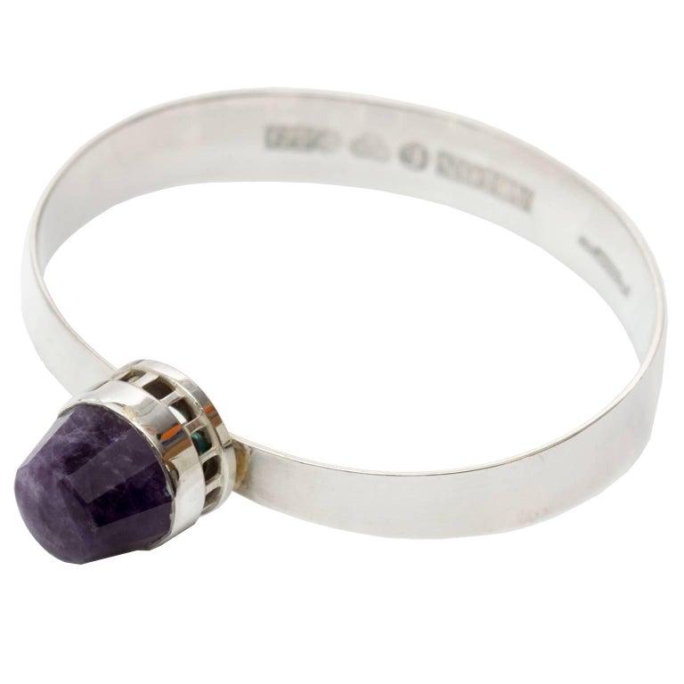 Scandinavian Modern, Pege, Alton Sterling Silver Bracelet with Purple Stone For Sale