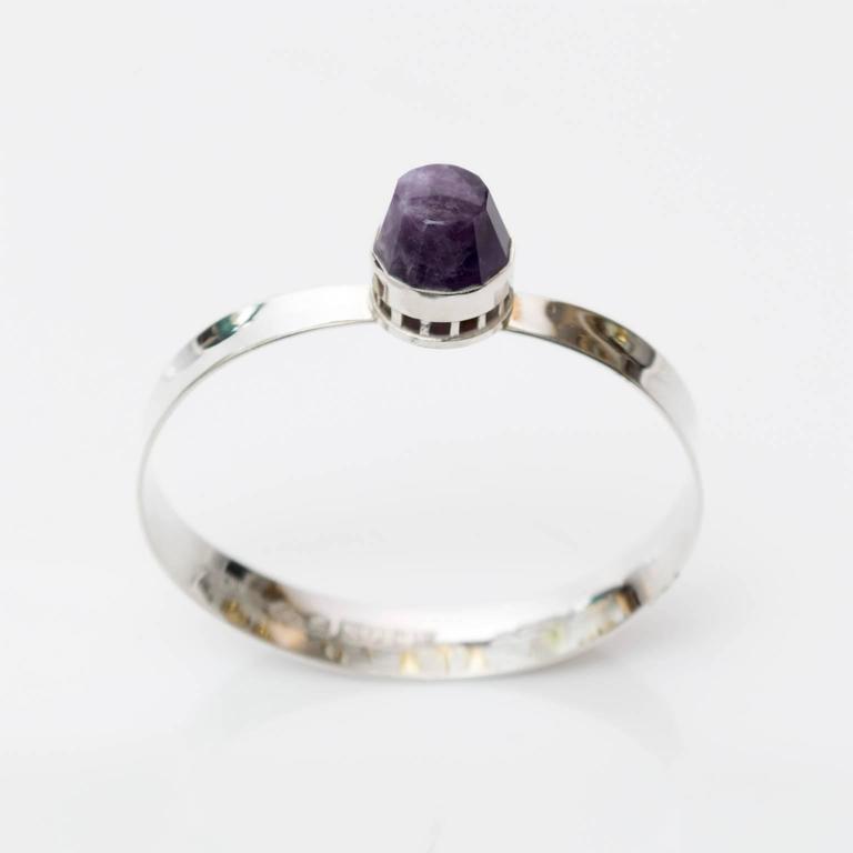 Polished Scandinavian Modern, Pege, Alton Sterling Silver Bracelet with Purple Stone For Sale