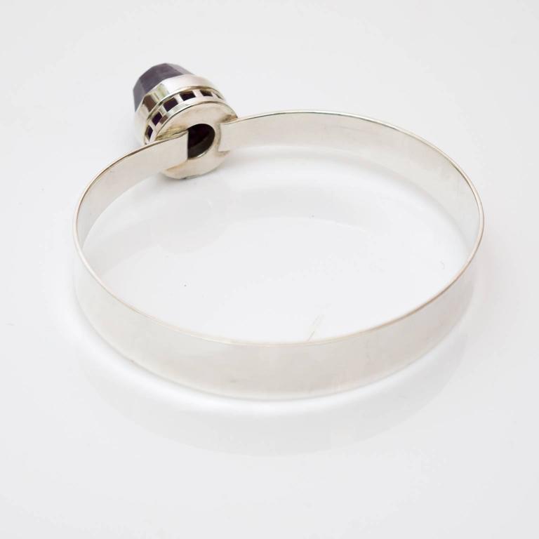 20th Century Scandinavian Modern, Pege, Alton Sterling Silver Bracelet with Purple Stone For Sale