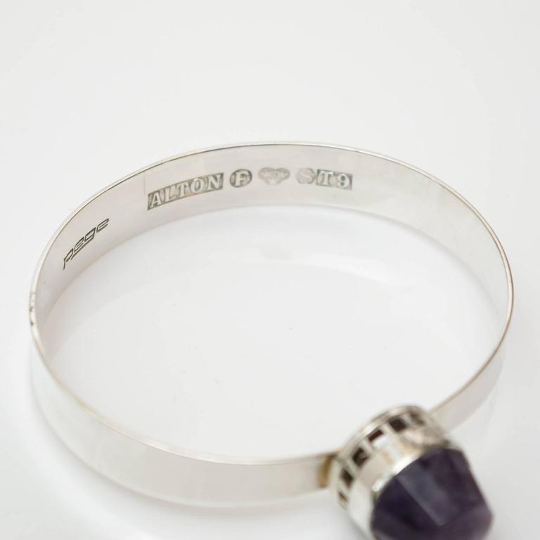 Scandinavian Modern, Pege, Alton Sterling Silver Bracelet with Purple Stone For Sale 1