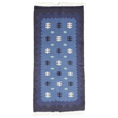 Scandinavian Modern, Swedish Wool Flat-Weave Rug in Blues, Rollakan