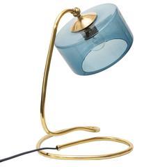 Scandinavian Modern Brass Lamp with Coil Base and Blue Glass Shade