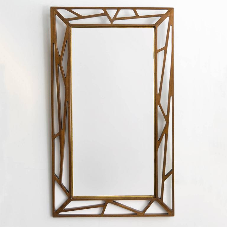 Scandinavian Modern Eden Gustaf Mirror with Stained Wood Frame 2