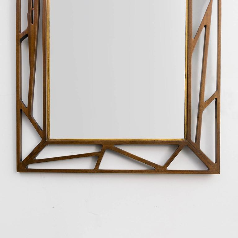Scandinavian Modern Eden Gustaf Mirror with Stained Wood Frame 4