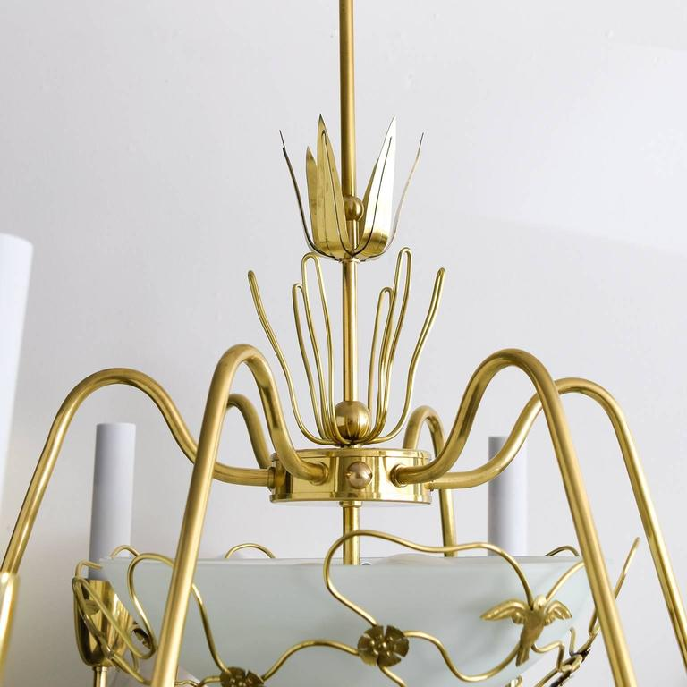 Modern Arm Chandelier: Scandinavian Modern Brass Six-Arm Chandelier With Birds
