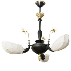 Scandinavian Modern, Art Deco Patinated and Polished Brass Three-Arm Chandelier