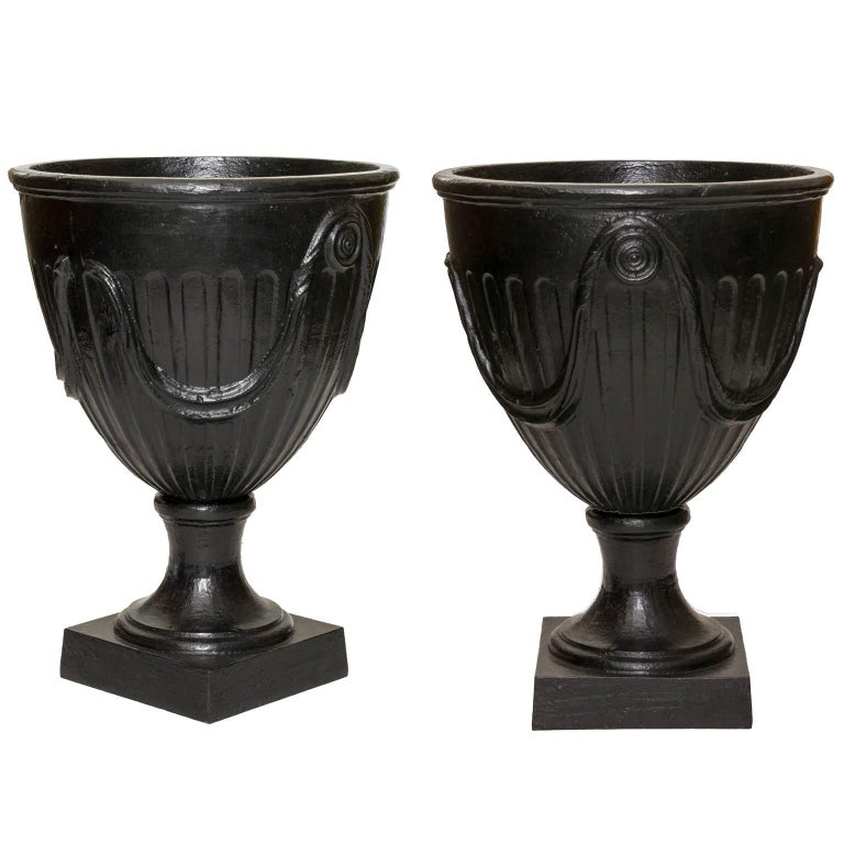 Large pair of Swedish Art Deco cast-iron urns, 1940–50
