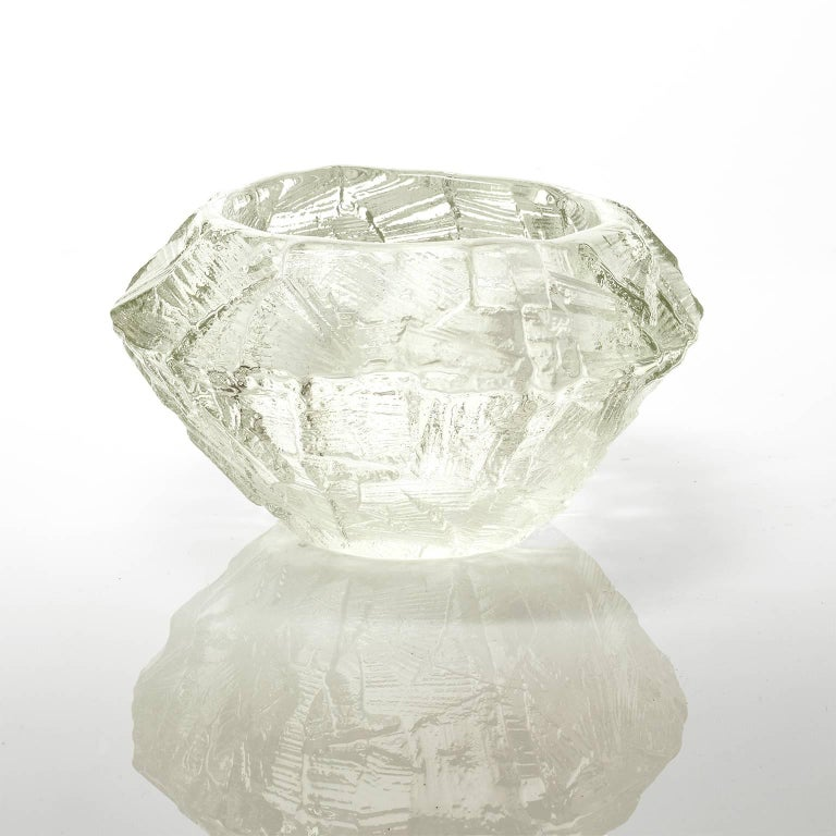 Scandinavian Modern Mid-Century Modern cast clear glass bowl by Gote Augustsson for Ruda, circa 1960s.   Measures: Height 5