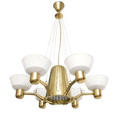 Hans Bergstrom, Scandinavian Modern 6-Arm Brass Chandelier Fabric Shades