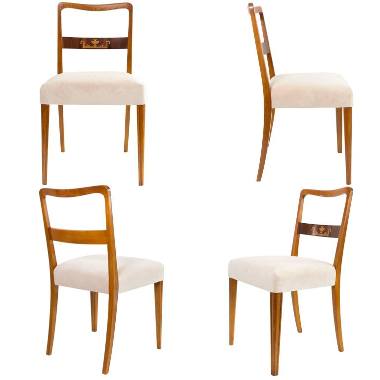 Scandinavian Modern Set of four Dining Occasional Chairs in Elmwood