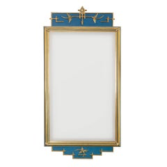 C.J. Eriksson & Co Swedish Art Deco Mirror in Blue and Gold