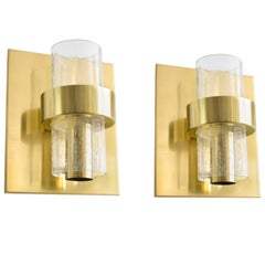 Pair of Scandinavian Modern Sconces in brass by Jonas Hidle, Norway, 1970
