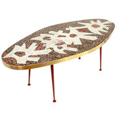 Beautiful Oval Form Midcentury Mosaic Coffee Table Designed by Berthold Muller