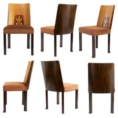 Erik Chambert Set of 6 Swedish Art Deco Side Chairs with Marquetry