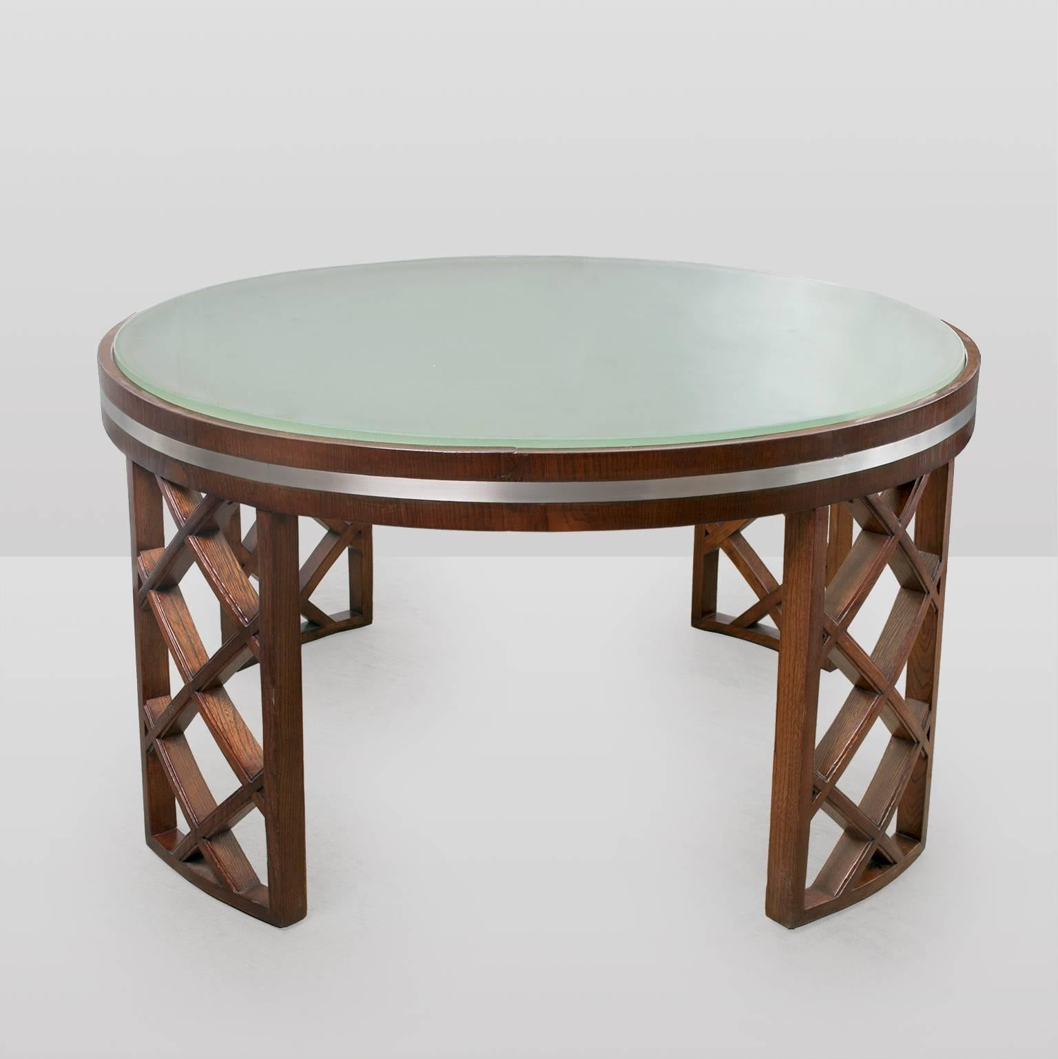 Scandinavian Modern Coffee Table With Lattice Legs Metal Inlay Acid Etched  Top For Sale At 1stdibs