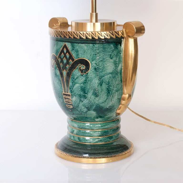 20th Century Scandinavian Modern Lamp in Luster Glaze and Hand-Decorated in Gold For Sale