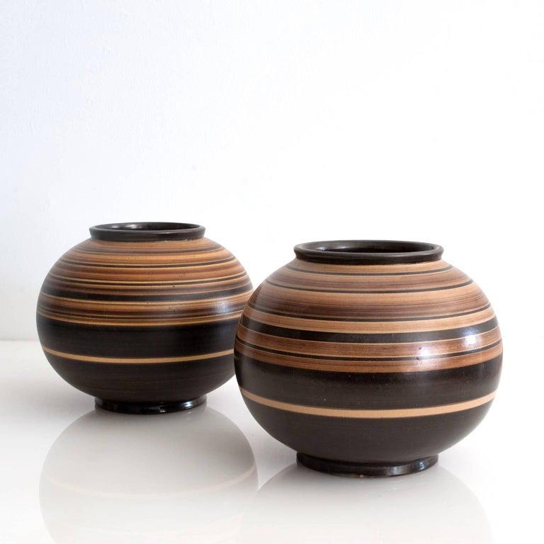 Pair Of Scandinavian Modern Ceramic Vases By Jerk Werkmaster For