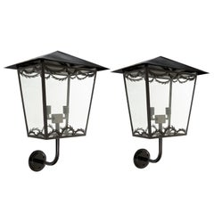 Large Pair of Scandinavian Midcentury Wall Mounted Lanterns with Glass Sides