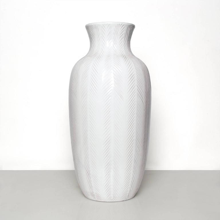 Large Swedish Art Deco, White Ceramic Vase By Anna Lisa Thomson For Sale At  1stdibs
