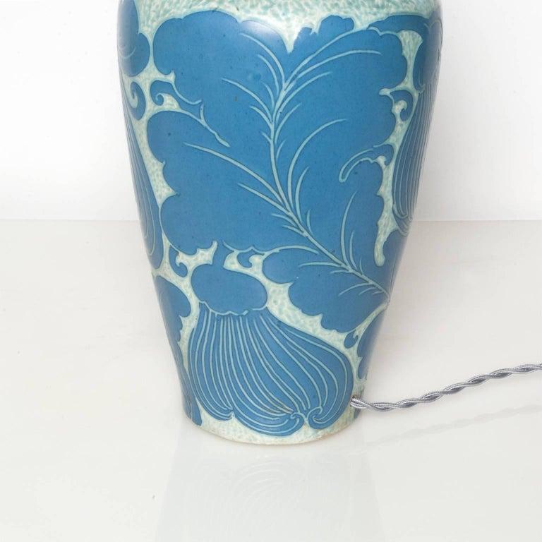 Swedish Josef Ekberg Lamp for Gustavsberg with Leaf Motif and Nickel Details For Sale