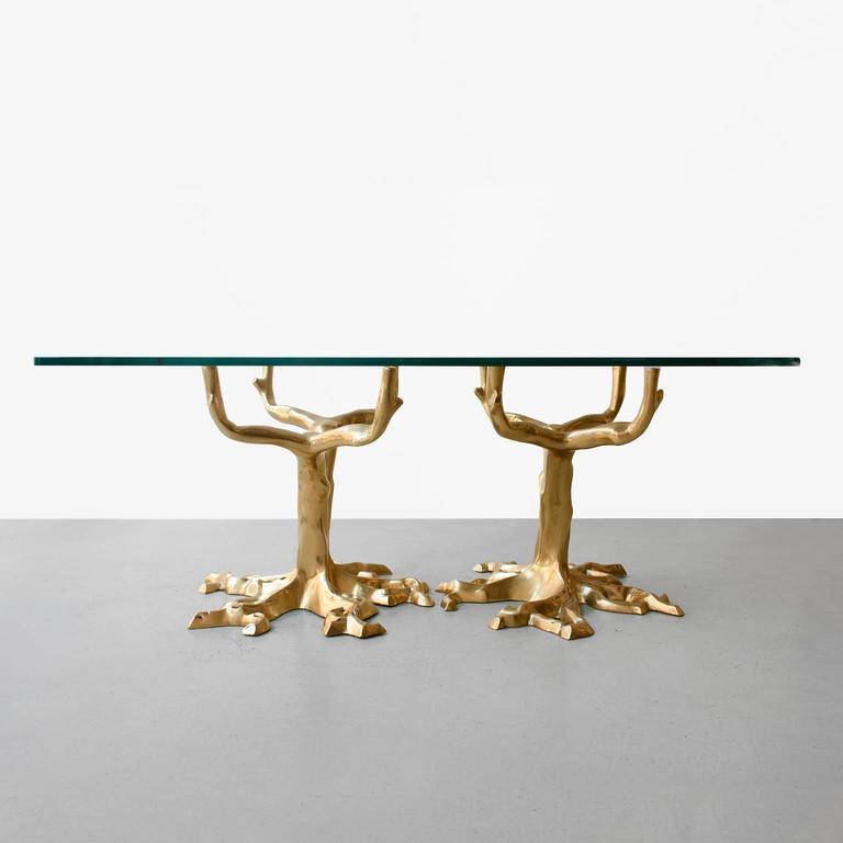 Mid Century Modern Tree Slab Coffee Table For Sale At 1stdibs: Scandinavian Mid-Century Modern Bronze Base Coffee Table