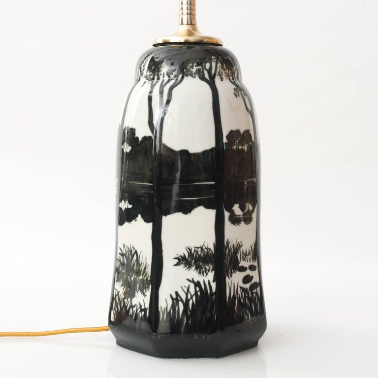 Glazed Swedish Ceramic Table Lamp by Knut Hallgren for ALP Lidköping For Sale