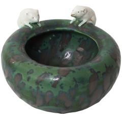 Austrian or German Small Ceramic Glazed Bowl in Green with Mice