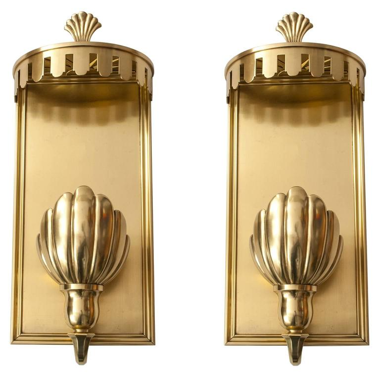 Large Art Deco Wall Sconces : Large Pair of Swedish Grace, Art Deco Sconces in Polished Brass For Sale at 1stdibs