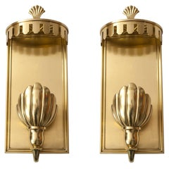 Large Pair of Swedish Grace, Art Deco Sconces in Polished Brass