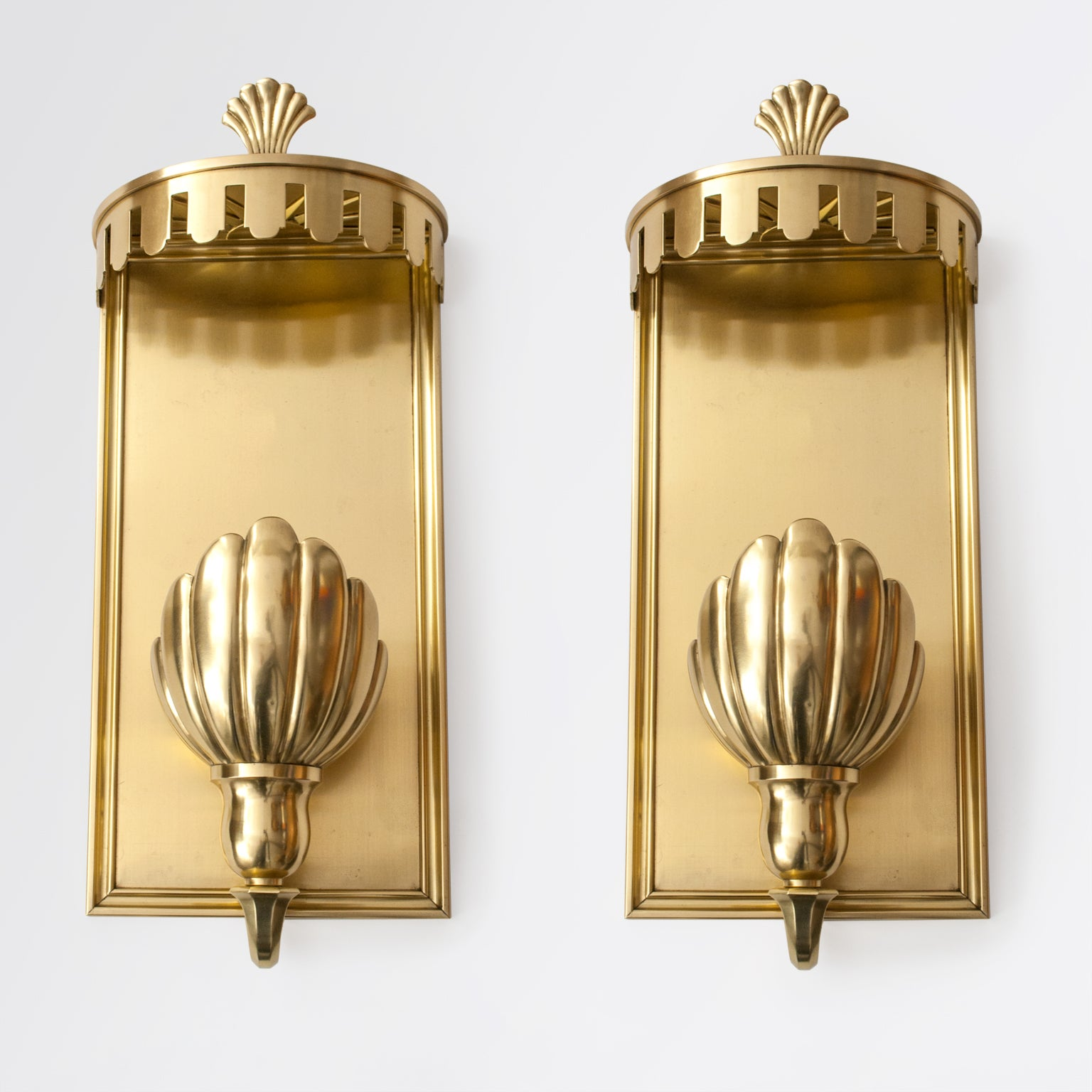 Large Pair of Swedish Grace, Art Deco Sconces in Polished Brass For ...