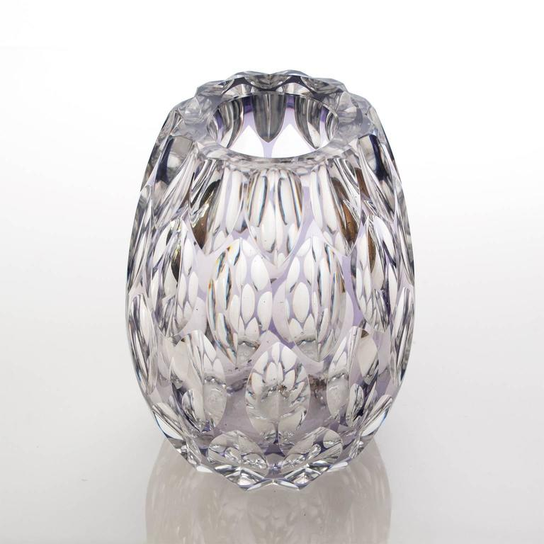 Scandinavia Modern Etched Crystal Vase By Elis Bergh For Kosta At