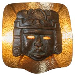 Large Midcentury Modern Brass Sconce with Patinated Bronze Mayan Mask