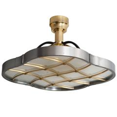 Lars Holmstrom Steel and Brass Flush or Pendant Fixture Made at Arvika Studio