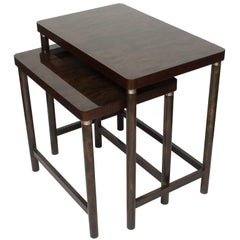 Scandinavian Modern Set of Two Nesting Tables in Stained Birch and Mahogany