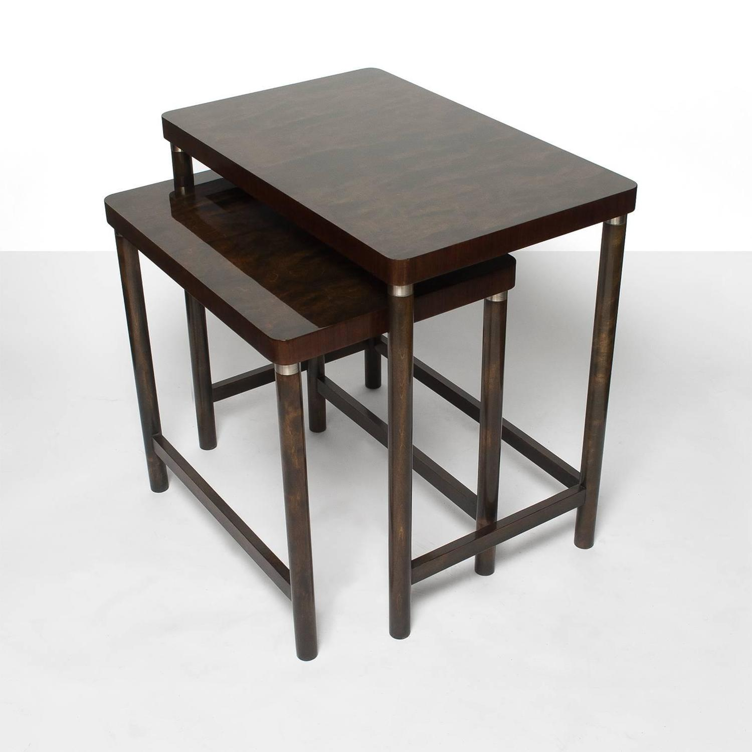 Marvelous photograph of Scandinavian Modern Set of Two Nesting Tables in Stained Birch and  with #322721 color and 1500x1500 pixels