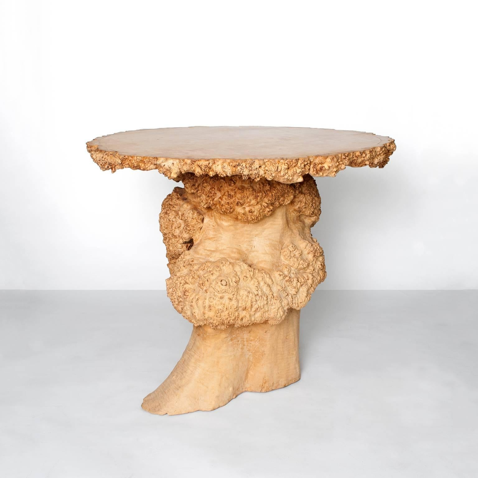 modern tree trunk table with burl and birch top 3
