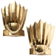 Pair of Scandinavian Brass Sconces Crown and Shell by Lars Holmstrom, Arvika