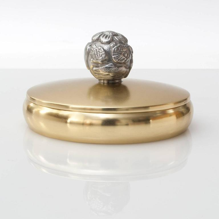 Cast Scandinavian Modern Brass and Pewter Lidded Bowl by Carl-Einar Bergstrom,Ystad For Sale
