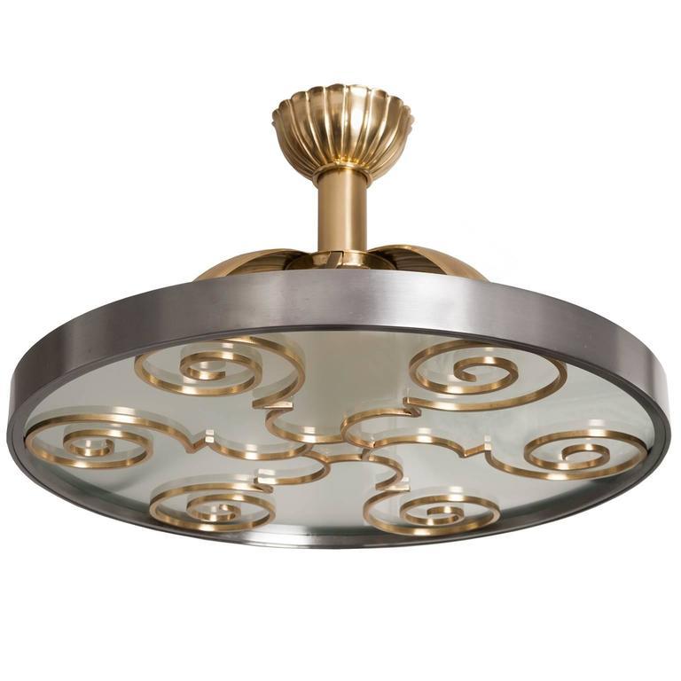Scandinavian Modern Ceiling Fixture In Steel And Brass By