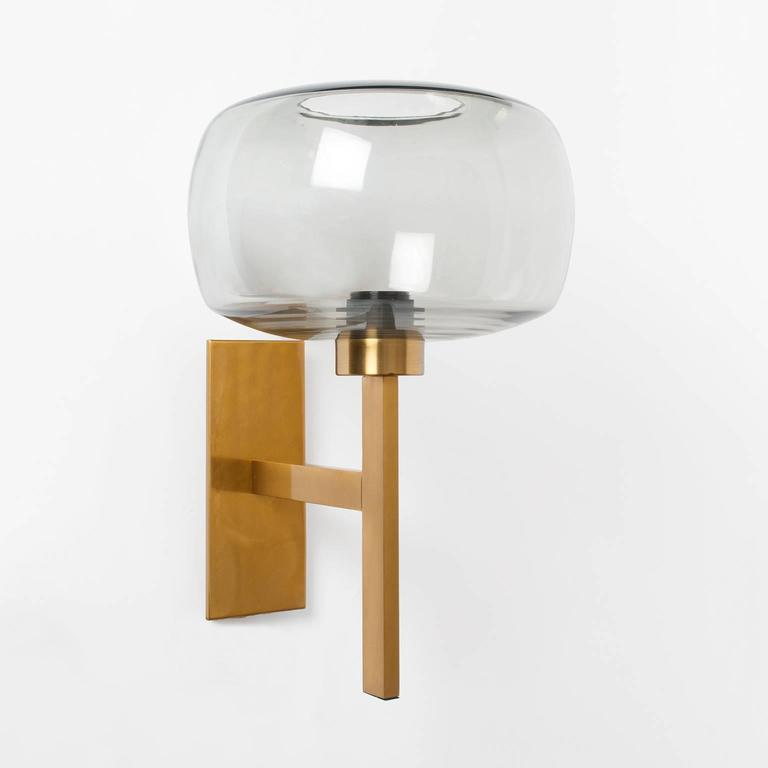 Brass Wall Sconce With Glass Shade : Pair of Scandinavian Modern brass sconces with gray glass shades. at 1stdibs