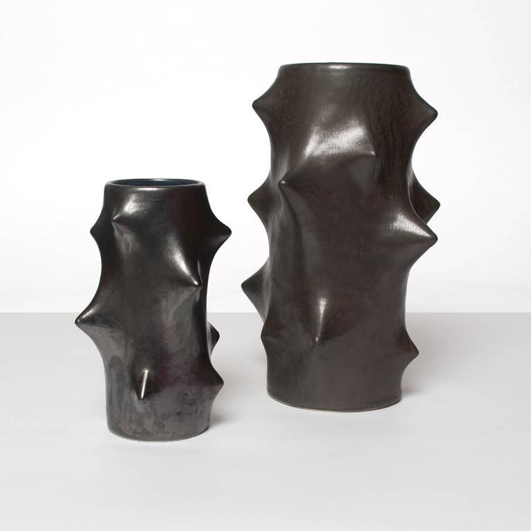 Two Scandinavian Modern Rose Thorn Vases Knud Basse Michael