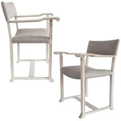 Carl Bergsten Scandinavian Modern White Oak Chairs with Scrolled Arms