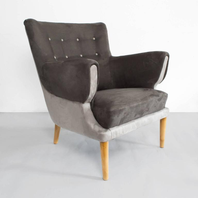 Scandinavian Modern (Danish) Lounge Chair Newly Restored And Re Upholstered  In Two Shades