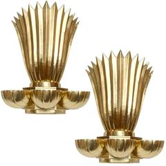 Pair of Scandinavian Modern Large Brass Sconces by Lars Holmström for Arvika