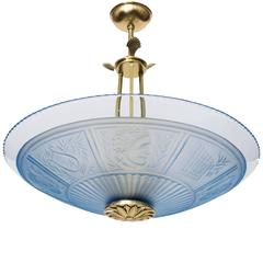 Scandinavian Modern Pendant with a Pale Blue Clear and Acid Etched Glass Shade