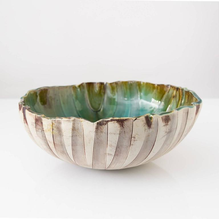 Unique Scandinavian Modern Glazed Bowl by Artist Bengt Berglund In Excellent Condition For Sale In New York, NY