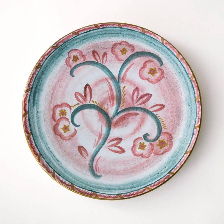 Hand-Painted Scandinavian Modern Josef Ekberg for Gustavsberg Art Deco Floral Ceramic Plates For Sale